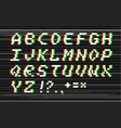 glitch alphabet vector image vector image