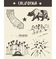 Hand drawn set of California state sketch vector image vector image