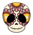 happy colored mexican skull cartoon vector image