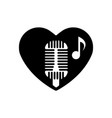 heart black is symbol retro microphone valentines vector image