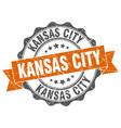 kansas city round ribbon seal vector image vector image