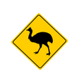 Kassowary warning sign vector image vector image