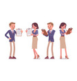 male and female office secretary with clipboard vector image vector image