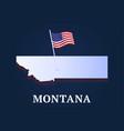 montana state isometric map and usa national flag vector image vector image