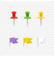 navigation pins and flags isolated on transparent vector image vector image