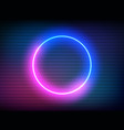 neon retro circle with vhs effect glitch round vector image vector image