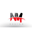 ny n y brush logo letters with red and black vector image vector image
