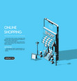 online shopping concept halftone isometric vector image