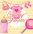 pink clothes and rattle feeding bottle baby shower vector image