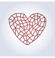Polygonal linear red heartLow poly style vector image