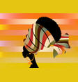 portrait beautiful african woman in striped turban vector image