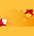present golden box with red ribbon holiday card vector image vector image