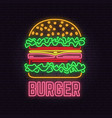 retro neon burger sign on brick wall background vector image