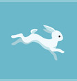 running rabbit on blue background vector image vector image