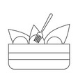salad in bowl with fork black and white vector image