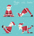 Santa Claus doing yoga holiday vector image vector image