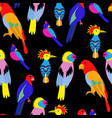 seamless background with exotic tropical birds vector image