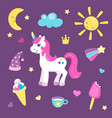 set cute unicorn or beautiful horse