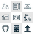 set of 9 school icons includes home work diploma vector image vector image