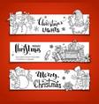 set of doodles horizontal christmas banners vector image vector image