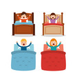 set of wake up people differents bed and arms up vector image vector image
