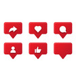 set social media notification red icons vector image