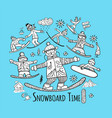 snowboard time sketch for your design vector image vector image