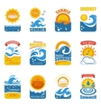 Summer Label Set With Wave And Sun vector image vector image