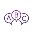 three linear chat speech message bubbles with abc vector image vector image