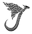 tribal tattoo art with flying dragon silhouette vector image vector image