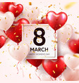 women s day red background with balloons heart vector image