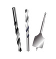 drill bit metal set isolated on white background vector image