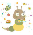 aterpillar wuth cupcakes insects are celebrating vector image vector image