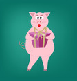 beautiful pig girl pink holds a gift box with a vector image vector image