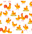cheerful hens and roosters seamless pattern vector image