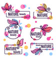 collection of doodle flowers emblems frames vector image