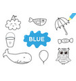 color elements in blue coloring page for kids vector image
