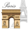 colored triumphal arch with eiffel tower vector image vector image