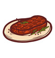 cooked steak on plate icon hand drawn style vector image