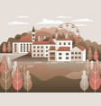 countryside landscape country motif with farm vector image