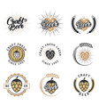craft fresh beer emblem logo badge and label vector image vector image