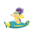 cute baby animal hedgehog with glasses on airplane vector image vector image