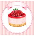 cute watercolor mini strawberry cheesecake vector image vector image