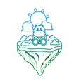 degraded line cute hippopotamus animal in float vector image vector image