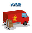 delivery service concept with van vehicle vector image vector image