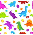 dinosaur cartoon background seamless vector image vector image