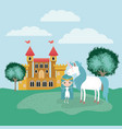 fairy with unicorn in the camp and castle vector image vector image