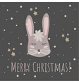 funny bunny retro stylemerry christmas vector image