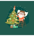 Funny Santa Claus with christmas tree vector image vector image