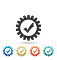 gear with check mark icon on white background vector image